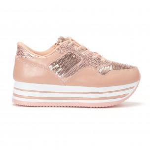Γυναικεία ροζ sneakers με πλατφόρμα και πούλιες