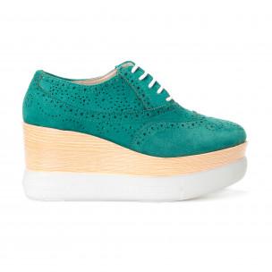 Γυναικεία πράσινα παπουτσια με πλατφορμα VeraBlum