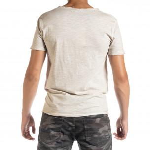 Ανδρική μπεζ κοντομάνικη μπλούζα Duca Homme 2