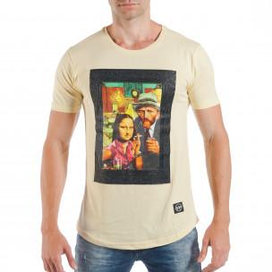 Ανδρική κίτρινη κοντομάνικη μπλούζα με pop-art πριντ