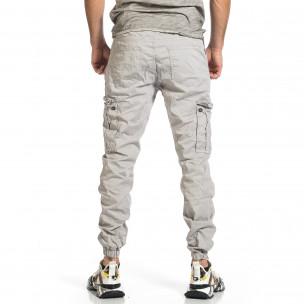 Ανδρικό ανοιχτό γκρι παντελόνι cargo jogger  2