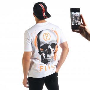 Ανδρική λευκή κοντομάνικη μπλούζα Flex Style
