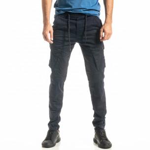Ανδρικό μπλε παντελόνι cargo σε ίσια γραμμή