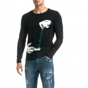 Ανδρική μαύρη μπλούζα Mickey Gloves