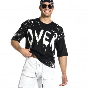 Ανδρική μαύρη κοντομάνικη μπλούζα Oversize