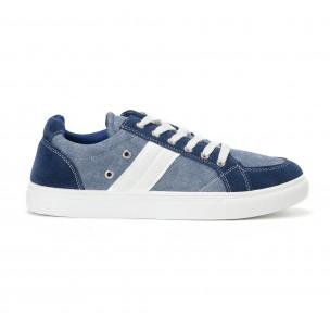Ανδρικά μπλε sneakers από τζιν ύφασμα