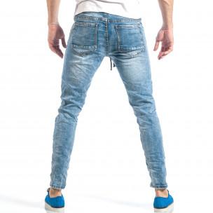 Ανδρικό γαλάζιο τζιν στύλ ρόκερ με λάστιχο  2
