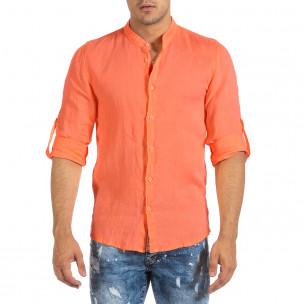 Ανδρικό πορτοκαλί λινό πουκάμισο Duca Fashion