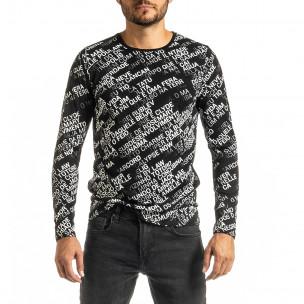 Ανδρική μαύρη μπλούζα με πριντ 2