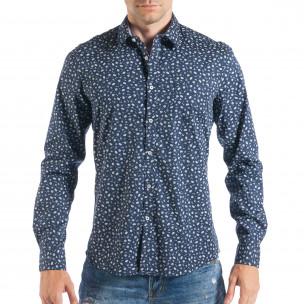 Ανδρικό μπλε πουκάμισο με μικροσκοπικό πριντ Toys