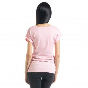 Γυναικεία ροζ κοντομάνικη μπλούζα με πριντ 2