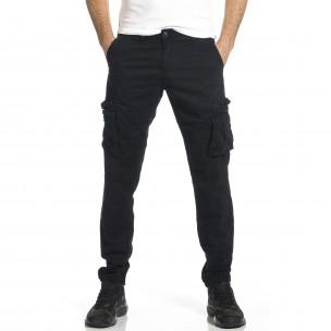 Ανδρικό μαύρο παντελόνι cargo σε ίσια γραμμή Plus Size Blackzi