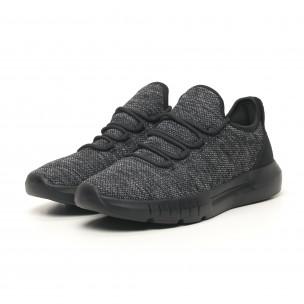 Ανδρικά μαύρα μελάνζ αθλητικά παπούτσια ελαφρύ μοντέλο  2