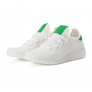Ανδρικά λευκά αθλητικά παπούτσια με πράσινες λεπτομέρειες 2