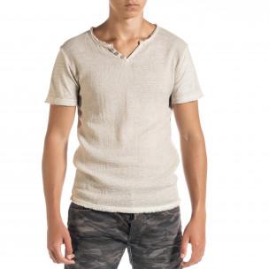 Ανδρική μπεζ κοντομάνικη μπλούζα Duca Homme