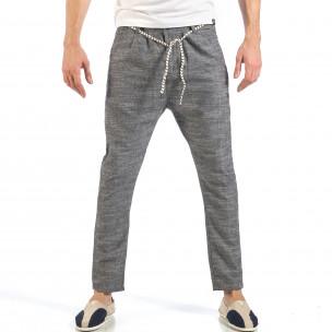 Ανδρικό γκρι παντελόνι με κορδόνι