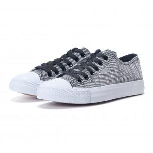 Γυναικεία υφασμάτινα sneakers με ασπρόμαυρες ρίγες  2