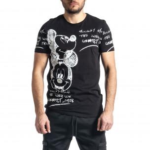 Ανδρική μαύρη κοντομάνικη μπλούζα Lagos