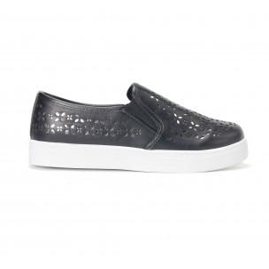 Γυναικεία μαύρα sneakers slip-on με διακοσμητικά σχέδια