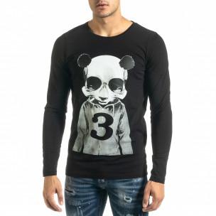 Ανδρική μαύρη μπλούζα Panda Skull