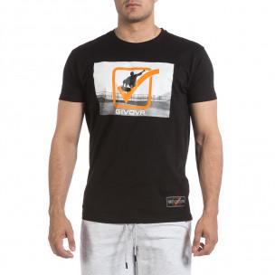 Ανδρική μαύρη κοντομάνικη μπλούζα Givova