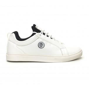 Ανδρικά λευκά sneakers με μαύρη λεπτομέρεια