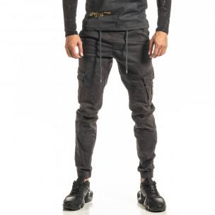 Ανδρικό γκρι παντελόνι cargo Jogger Blackzi