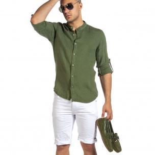 Ανδρικό πράσινο λινό πουκάμισο Duca Fashion Duca Fashion