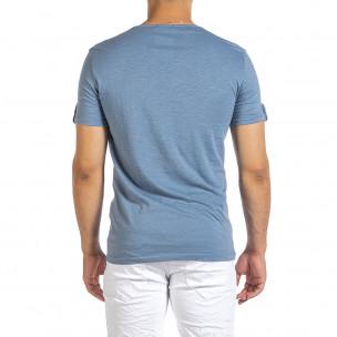 Ανδρική γαλάζια κοντομάνικη μπλούζα Made in Italy  2