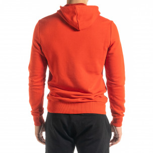 Ανδρικό κόκκινο φούτερ Basic με τσέπη καγκουρό 2