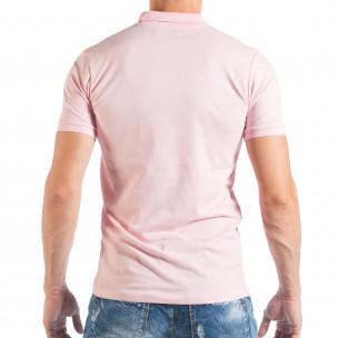 Ανδρική κοντομάνικη πόλο σε απαλό ροζ χρώμα 2