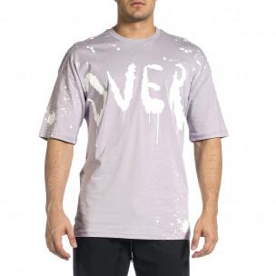 Ανδρική μωβ κοντομάνικη μπλούζα Oversize