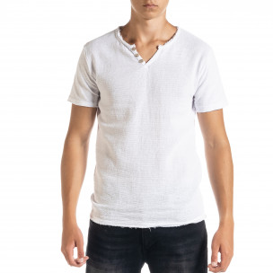 Ανδρική λευκή κοντομάνικη μπλούζα Duca Homme