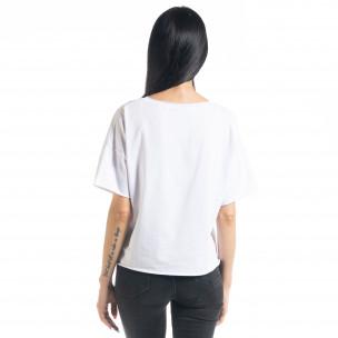 Γυναικεία λευκή κοντομάνικη μπλούζα Loose fit 2