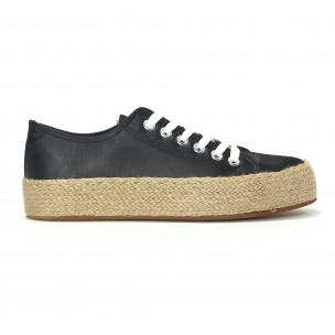 Γυναικεία μαύρα sneakers τύπου εσπαντρίγιες