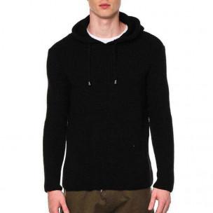Ανδρικό μαύρο πουλόβερ με κουκούλα