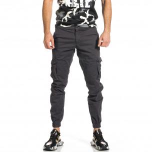Ανδρικό γκρι παντελόνι cargo Plus Size Blackzi