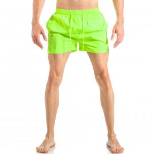 Ανδρικό πράσινο φωσφοριζέ μαγιό με ρίγες σε τρία χρώματα