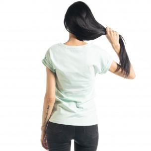 Γυναικεία πράσινη κοντομάνικη μπλούζα με πριντ 2
