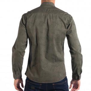 Ανδρικό πράσινο Regular πουκάμισο  2
