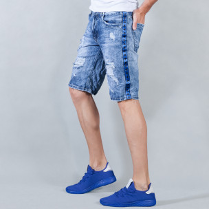 Ανδρική γαλάζια τζιν βερμούδα με σκισίματα