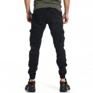 Ανδρικό μαύρο παντελόνι cargo Plus Size  2