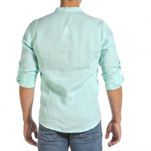 Ανδρικό πράσινο λινό πουκάμισο Duca Fashion 2