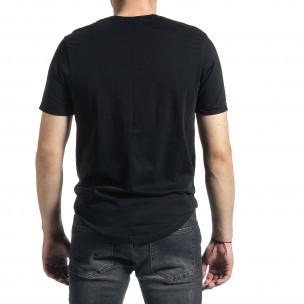 Ανδρική μαύρη κοντομάνικη μπλούζα Slim fit 2