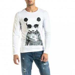 Ανδρική λευκή μπλούζα Panda Skull