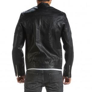 Ανδρικό μαύρο μπουφάν από συνθετικό δέρμα Wanwest 2