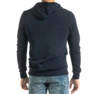 Ανδρικό μπλε φούτερ Basic με τσέπη καγκουρό  2