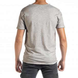 Ανδρική γκρι κοντομάνικη μπλούζα Duca Homme  2