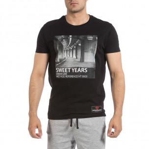 Ανδρική μαύρη κοντομάνικη μπλούζα Sweet Years