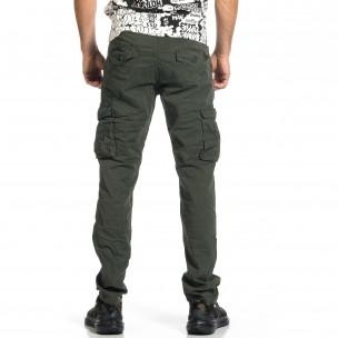 Ανδρικό πράσινο παντελόνι cargo σε ίσια γραμμή Plus Size  2